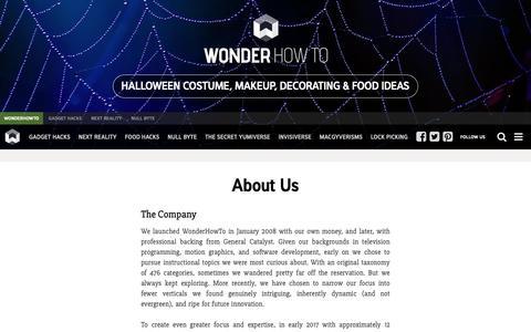Screenshot of About Page wonderhowto.com - About Us « WonderHowTo - captured Nov. 3, 2018