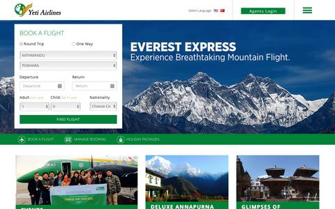 Screenshot of Home Page yetiairlines.com - Welcome to Yeti Airlines - captured Feb. 6, 2016