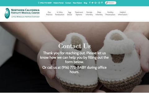 Screenshot of Contact Page ncfmc.com - Northern California Fertility Medical Center – IVF, Infertility Services |  Contact Us - Northern California Fertility Medical Center - captured Oct. 18, 2018