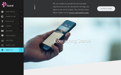Screenshot of Contact Page statoil.com - Contacting Statoil - Contacting Statoil - statoil.com - captured Jan. 31, 2017