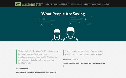 Screenshot of Testimonials Page wastemaster.com - Wastemaster | Reduce Waste Disposal Costs | Testimonials Wastemaster - captured Aug. 12, 2016