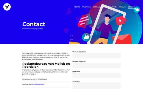 Screenshot of Contact Page vormelique.nl - Contact – Vormelique | design studio - captured Oct. 19, 2018