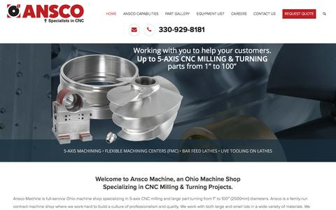 Screenshot of Home Page ansco-machine.com - Ohio Machine Shop | Large Turning | Precision Machining Company - captured Oct. 8, 2017