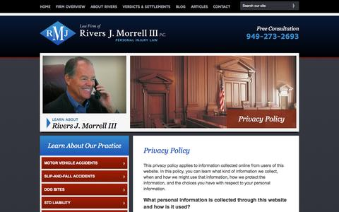 Screenshot of Privacy Page rjmlawfirm.com - Privacy Policy | Law Firm of Rivers J. Morrell, III | Orange County, California - captured Oct. 2, 2014