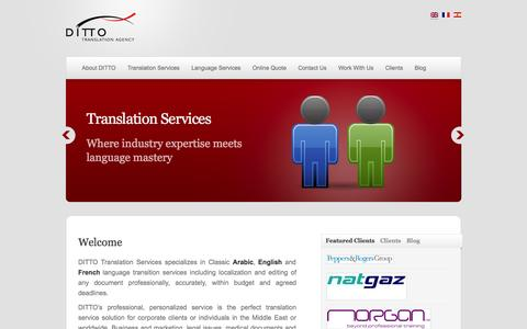Screenshot of Home Page dittotranslation.com - Ditto Translation | Professional language solutions and translation services - captured Oct. 5, 2014
