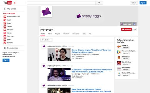 Screenshot of YouTube Page youtube.com - peppyeggs  - YouTube - captured Oct. 22, 2014