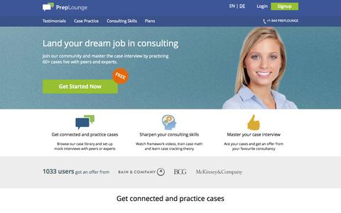 Screenshot of Testimonials Page preplounge.com - Practice Case Interviews to get your consulting dream job - captured Sept. 23, 2014