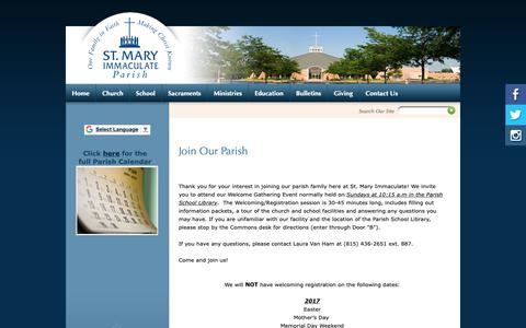 Screenshot of Signup Page smip.org - St Mary Immaculate Parish: Join Our Parish - captured Oct. 18, 2018