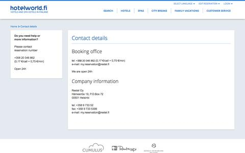 Screenshot of Support Page hotelworld.fi - Contact details - captured Feb. 2, 2016