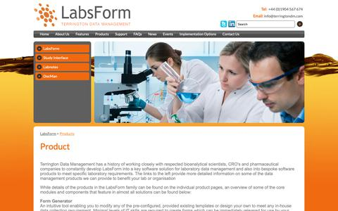 Screenshot of Products Page labsform.com - Products - LabsForm | Bioanalytical and Pharmaceutical software solutions - captured Oct. 19, 2018