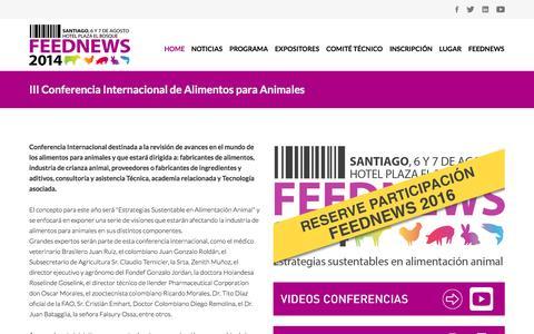 Screenshot of Home Page feednews.cl - Feednews - Estrategias sustentables en alimentación animal - captured Jan. 26, 2015