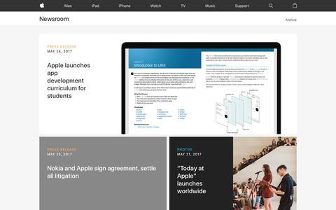 Screenshot of Press Page apple.com - Newsroom - Apple - captured May 27, 2017