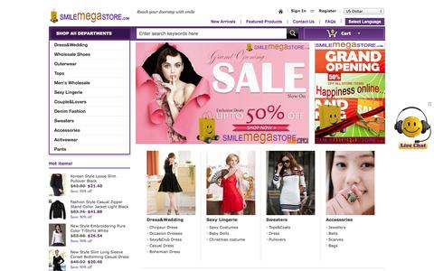 Screenshot of Home Page smilemegastore.com - SmileMegaStore - Global Online Shopping for Dresses, shoes, jewelry, bags with low cost and standard quality - captured Sept. 30, 2014