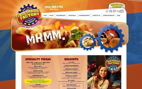 Screenshot of Menu Page bigthrillfactory.com - Big Thrill Factory Menu - captured Sept. 30, 2014