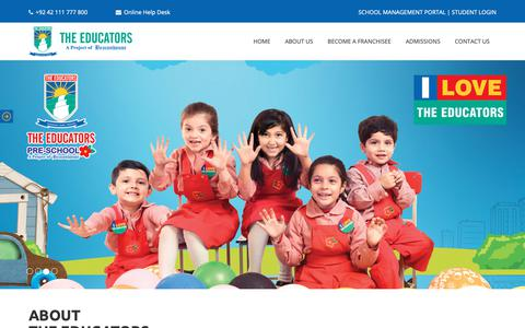 Screenshot of Home Page educators.edu.pk - The Educators - A Project of Beaconhouse - captured Feb. 10, 2019
