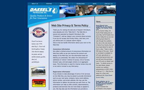 Screenshot of Terms Page dassels.com - Terms & Conditions at Dassel's Petroleum - captured Oct. 5, 2014