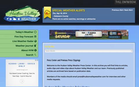 Screenshot of Press Page hudsonvalleyweather.com - Press Center Archives - Hudson Valley Weather - captured Sept. 19, 2014
