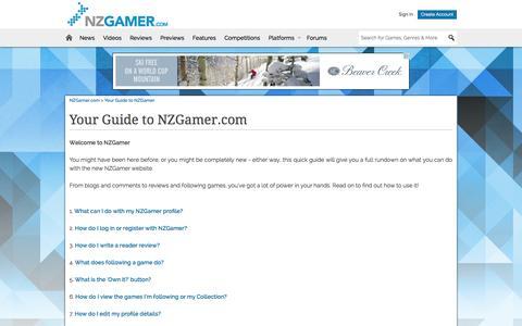 Screenshot of FAQ Page nzgamer.com - FAQs - NZGamer.com - captured Sept. 22, 2014