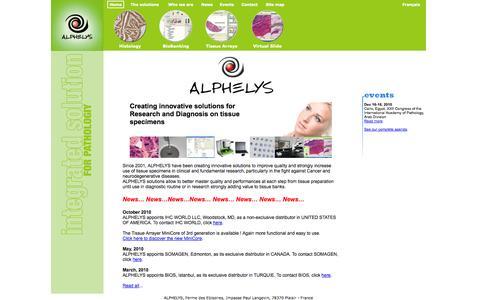 Screenshot of Home Page alphelys.com - index - captured Sept. 30, 2014