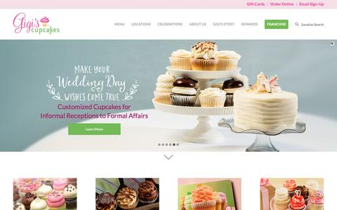 Screenshot of Home Page gigiscupcakesusa.com - Gigis Cupcakes | Gourmet Cupcakes Fresh Every Day - captured Sept. 16, 2016