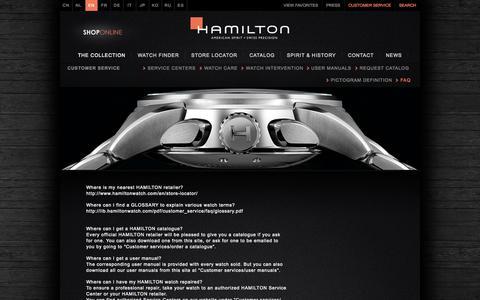 Screenshot of FAQ Page hamiltonwatch.com - FAQ   Hamilton Watch - captured Sept. 24, 2014