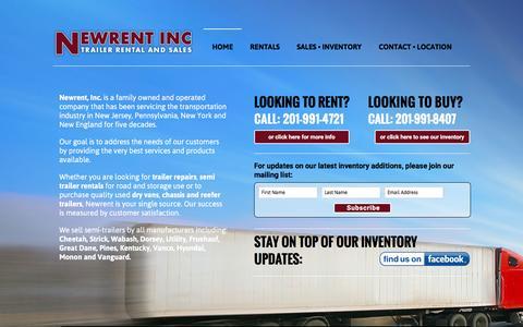 Screenshot of Home Page newrent.com - NewRent Inc. | Trailer Rental and Sales - captured June 19, 2016