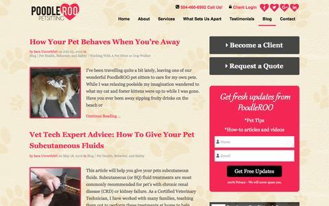 Screenshot of Blog poodleroo.com - Blog | PoodleROO Pet Sitting & Dog Walking | New Orleans Pet Care - captured Nov. 8, 2016