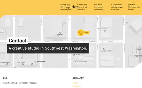 Screenshot of Contact Page seeyouinshop.com - shop is a multi-disciplinary design studio - captured Oct. 4, 2017