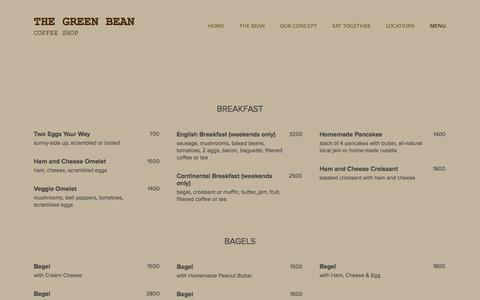 Screenshot of Menu Page thegreenbean.am - MENU — The Green Bean - captured Oct. 7, 2014
