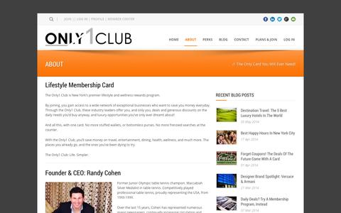 Screenshot of About Page only1club.com - Only 1 Club  About Only 1 Club | New York City Discount Card | Cheap Deals NYC | NY - captured Oct. 26, 2014