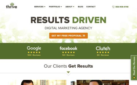 Screenshot of Home Page thriveagency.com - Digital Marketing Agency | Thrive Internet Marketing Agency - captured May 18, 2019