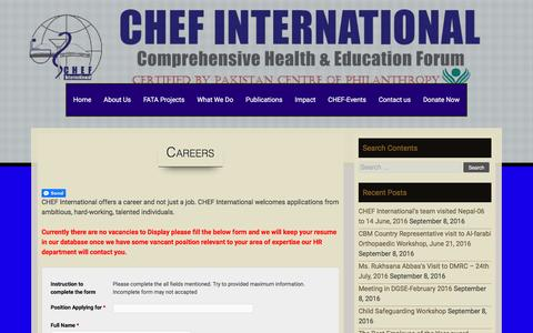 Screenshot of Jobs Page chef.org.pk - Careers – COMPREHENSIVE HEALTH AND EDUCATION FORUM INTERNATIONAL - captured Sept. 25, 2016