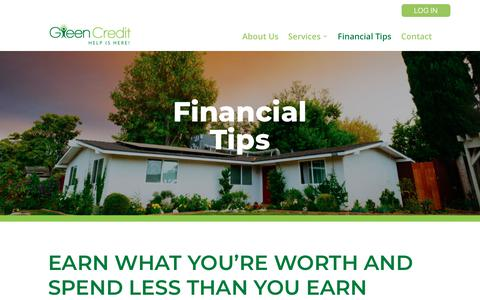 Screenshot of Support Page educatingu.org - Financial Tips | Green Credit - captured Sept. 30, 2018