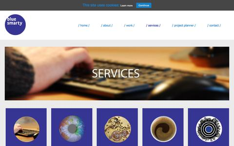 Screenshot of Services Page blue-smarty.com - Blue Smarty Web Services - captured July 29, 2016