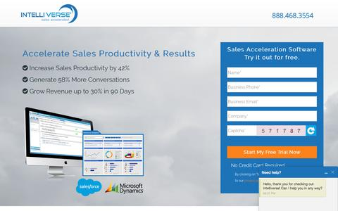 Screenshot of Trial Page intelliverse.com - Free Trial of Intelliverse Sales Acceleration Software - captured Sept. 19, 2018