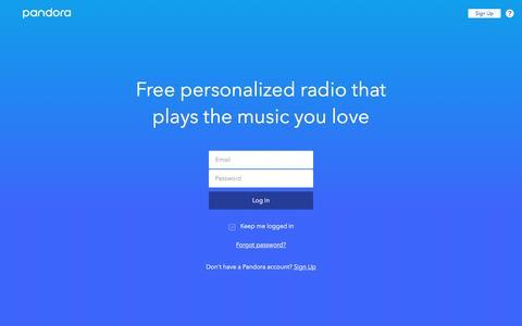 Screenshot of Login Page pandora.com - Pandora Radio - Listen to Free Music You'll Love. - captured March 7, 2017