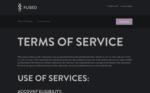 Screenshot of Terms Page fused.com - Fused's Terms of Service - captured Nov. 25, 2016