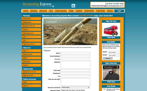 Screenshot of Contact Page Signup Page accountingexpress.co.uk - Accounting Express - captured Oct. 23, 2014