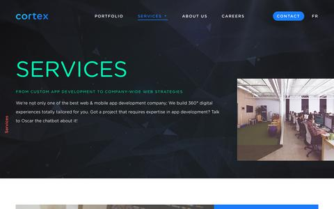 Screenshot of Services Page cortexstudio.com - Top Mobile App Developers | Best in the Business | Cortex - captured Jan. 31, 2018