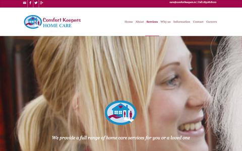Screenshot of Services Page comfortkeepers.ie - Home Care Services | Elderly & Personal Care | Comfort Keepers - captured Oct. 2, 2014