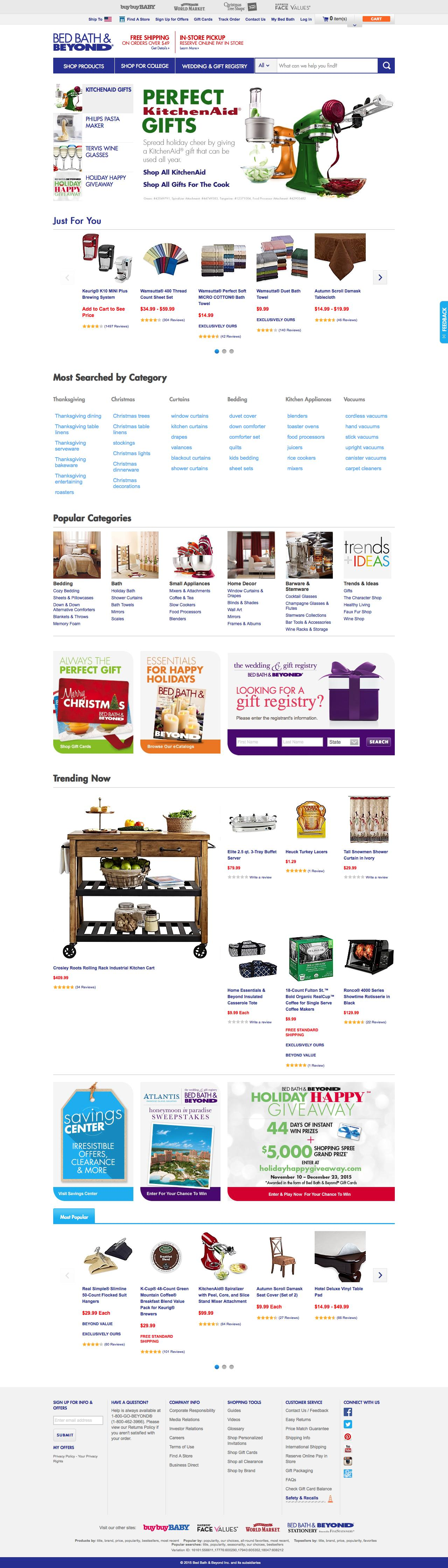 Screenshot of bedbathandbeyond.com - Bedding, Bath Towels, Cookware, Fine China, Bridal & Gift Registry  - BedBathandBeyond.com - captured Nov. 11, 2015