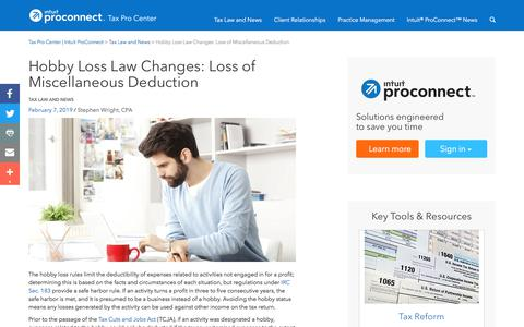 Screenshot of Press Page intuit.com - Hobby Loss Law Changes: Loss of Miscellaneous Deduction | Tax Pro Center | Intuit ProConnect - captured Nov. 21, 2019