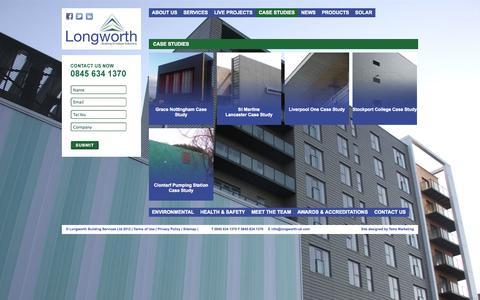 Screenshot of Case Studies Page longworth-uk.com - Longworth :: Case Studies - captured Oct. 3, 2014