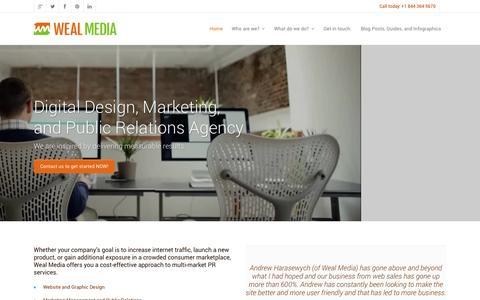 Screenshot of Home Page wealmedia.com - Weal Media | Digital PR Firm & Marketing Agency - captured Sept. 30, 2014