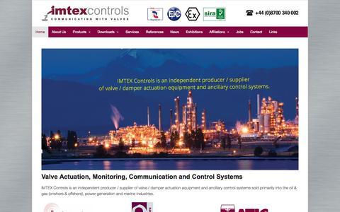 Screenshot of Home Page imtex-controls.com - Home - Imtex Controls - captured Sept. 16, 2015