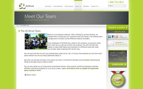 Screenshot of Team Page iqwired.net - Telecom Professionals    Telecom - Our Team   IQ Wired - captured Sept. 30, 2014