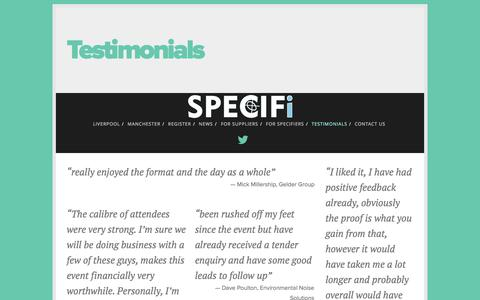 Screenshot of Testimonials Page specifi.co.uk - Testimonials — Specifi - captured Oct. 9, 2014