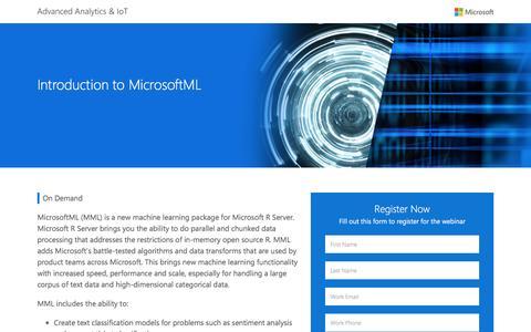 Screenshot of Landing Page microsoft.com - Introduction to MicrosoftML   Microsoft - captured Dec. 29, 2016