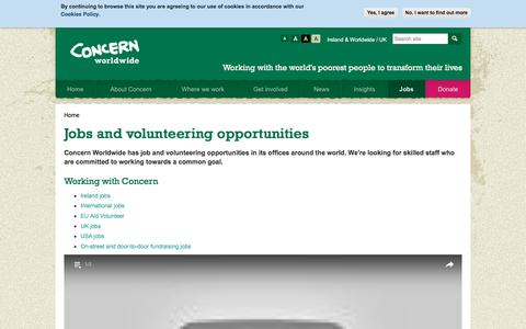 Screenshot of Jobs Page concern.net - Charity Jobs UK/Abroad - International Charity Jobs - Concern Worldwide - captured Nov. 9, 2016