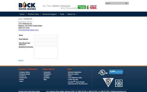 Screenshot of Contact Page bockwaterheaters.com - Contact Bock Water Heaters   - captured Oct. 6, 2018